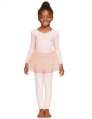 Girls' Cotton Rich Long Sleeve Ballet Tutu Dress, PINK, catlanding