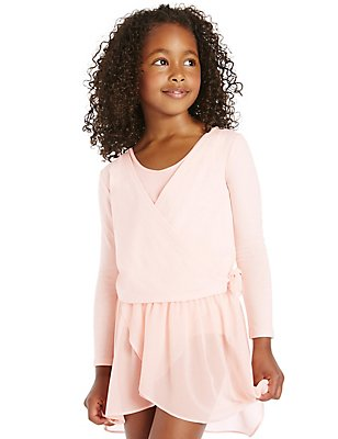 Girls' Pure Cotton Ballet Jersey Cardigan, PINK, catlanding