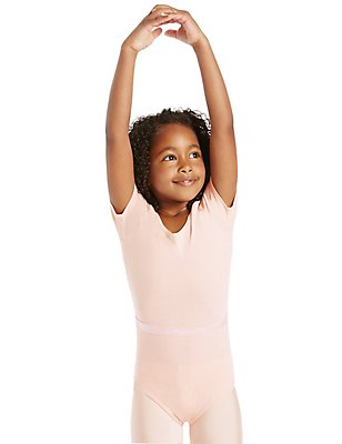 Girls' Ballet Leotard, PINK, catlanding