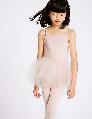Girls' Cotton Rich Ballet Leotard, PINK, catlanding