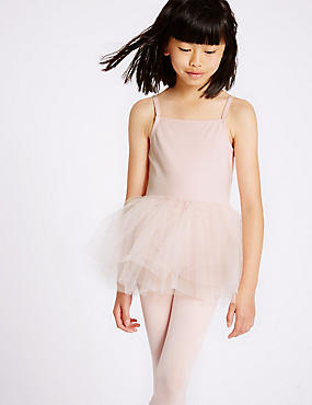 Girls' Cotton Rich Ballet Leotard, PINK, catlanding