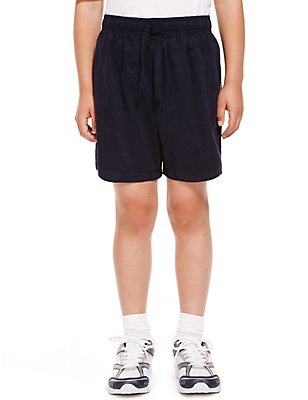 2 Pack Unisex Pure Cotton PE Shorts, NAVY, catlanding