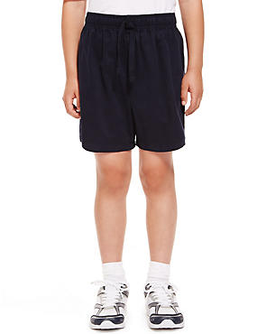 2 Pack Boys' Pure Cotton PE Shorts with Active Sport™, NAVY, catlanding