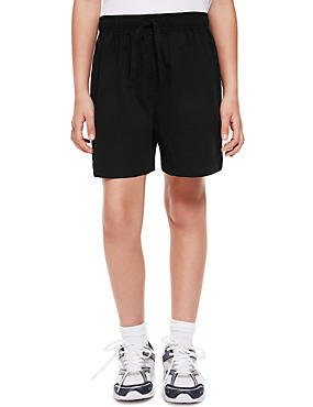 2 Pack Boys' Pure Cotton PE Shorts, BLACK, catlanding