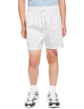 2 Pack Boys' Pure Cotton PE Shorts with Active Sport™, WHITE, catlanding