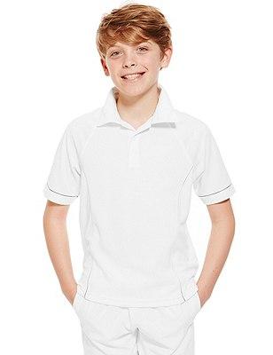Boys' Cricket Polo Shirt with Active Sport™ (Older Boys), WHITE, catlanding