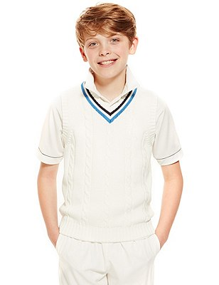 Boys' Cotton Rich Cricket Slipover with StayNEW™ & Active Sport™ (Older Boys), WHITE, catlanding