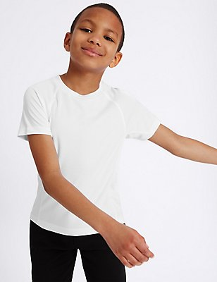 Boys' Performance Sports T-Shirt, WHITE, catlanding