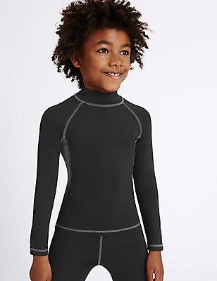 Boys' Performance Base Layer T-Shirt, BLACK, catlanding