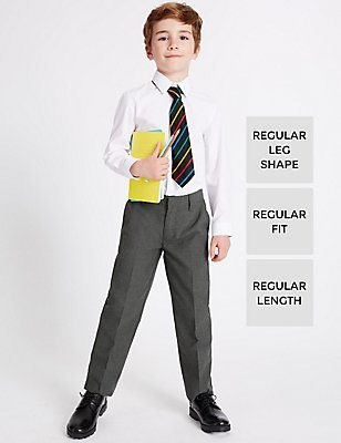 2 Pack Boys' Flat Front Trousers, GREY, catlanding