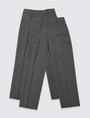 Школьные брюки с регулируемым поясом и технологиями Crease Resistance & Stormwear+™ (2 пары) от Marks & Spencer