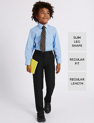 2 Pack Boys' Crease Resistant Adjustable Waist Slim Leg Flat Front Trousers with Triple Action Stormwear™, BLACK, catlanding