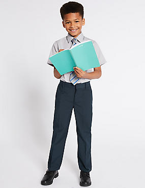 Boys' 2 Pack Trousers with Crease Resistant, NAVY, catlanding