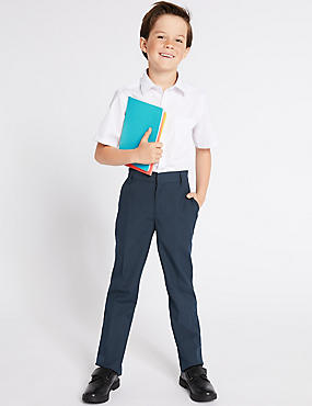 Boys' 2 Pack Slim Leg trousers with Crease Resistant, NAVY, catlanding