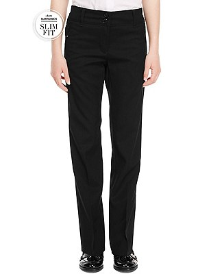 Slim Fit Girls' Zip Pocket Trousers with Stormwear+™ (2-16 years), BLACK, catlanding