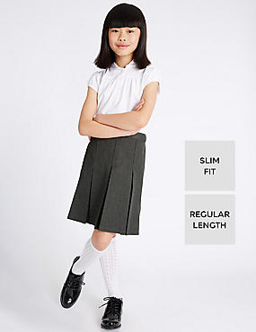 Girls Slim Fit Traditional Skirt with Triple Action Stormwear™ & Permanent Pleats, GREY, catlanding