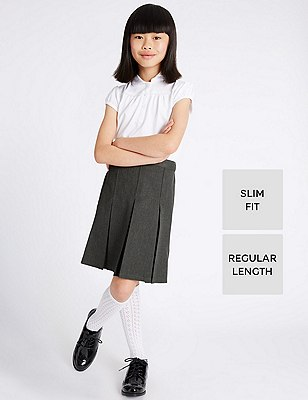 Crease Resistant Girls' Traditional Skirt with Permanent Pleat & Stormwear™, GREY, catlanding
