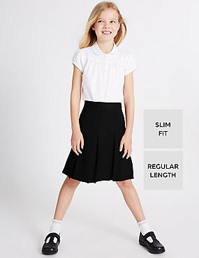 Girls Slim Fit Traditional Skirt with Triple Action Stormwear™ & Permanent Pleats, BLACK, catlanding