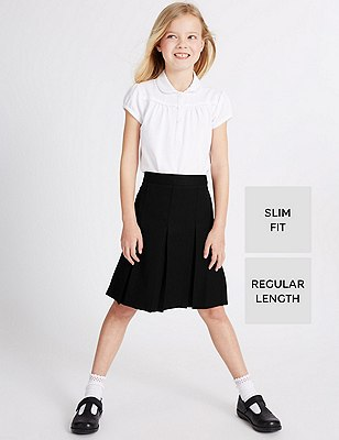 Crease Resistant Girls' Traditional Skirt with Permanent Pleat & Stormwear™, BLACK, catlanding