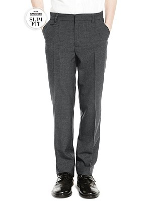 Crease Resistant Supercrease™ Boys' Slim Fit Flat Front Slim Leg Trousers with Stormwear™ , GREY, catlanding