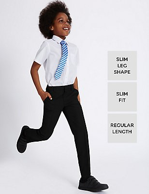 Boys' Slim Fit Trousers with Stormwear™, BLACK, catlanding