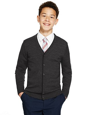 Senior Boys' Pure Merino Wool Easy Care Cardigan (Older Boys), CHARCOAL, catlanding