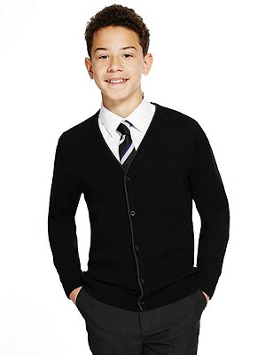 Senior Boys' Pure Merino Wool Easy Care Cardigan (Older Boys), BLACK, catlanding