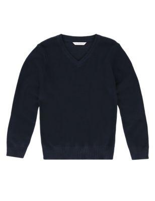 Школьный джемпер унисекс с V-горловиной и добавлением шерсти от Marks & Spencer