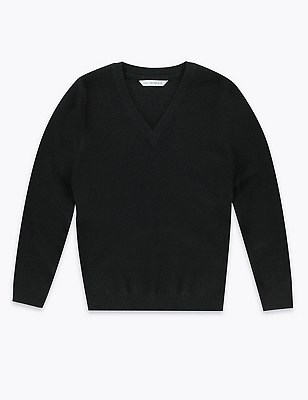 Cotton Rich Unisex Slim Fit Jumper with StayNEW™, BLACK, catlanding