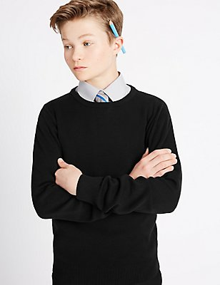 Senior Boys' Slim Fit Jumper, BLACK, catlanding