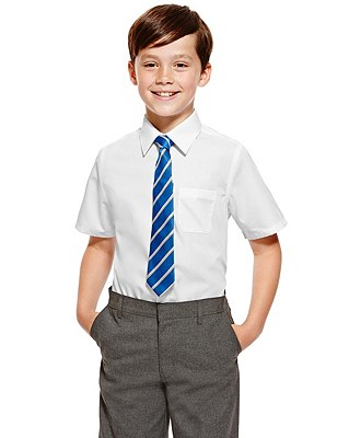 2 Pack Boys' Ultimate Non-Iron Short Sleeve Shirts with Stain Away™ in Longer Lengths, WHITE, catlanding