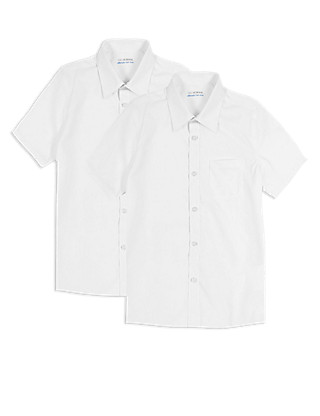 2 Pack Boys' Ultimate Non-Iron Short Sleeve Shirts with Stain Away™ in Longer Lengths Clothing