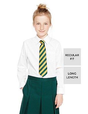 2 Pack Girls' Ultimate Non-Iron Longer Length Blouses with Stain Away™, WHITE, catlanding