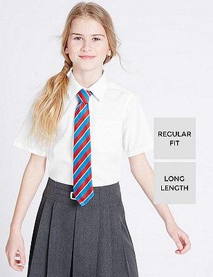2 Pack Girls' Longer Length Ultimate Non-Iron Short Sleeve Blouses, WHITE, catlanding