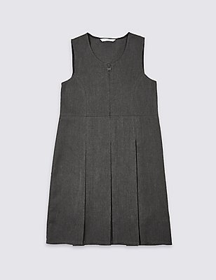 Girls' Longer Length Crease Resistant Traditional Pinafore with Permanent Pleats & Stormwear™, GREY, catlanding
