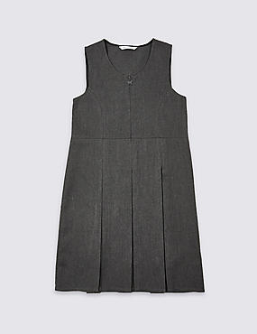 Girls' Permanent Pleats Pinafore, GREY, catlanding