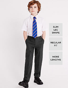 Boys' Longer Length Slim Leg Trousers, GREY, catlanding