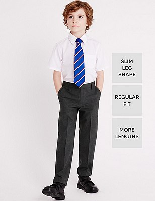 Boys' Stormwear™ Crease Resistant Longer Length Flat Front Slim Leg Trousers with Supercrease™, GREY, catlanding
