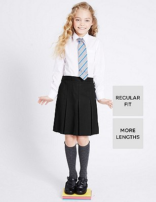 Girls' Permanent Pleat Traditional Skirt with Stormwear+™ in Longer Lengths, BLACK, catlanding