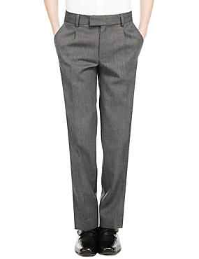 Wool Blend Boys' Pleat Front Supercrease™ Trousers with Triple Action Stormwear™ & Adjustable Hem, GREY, catlanding