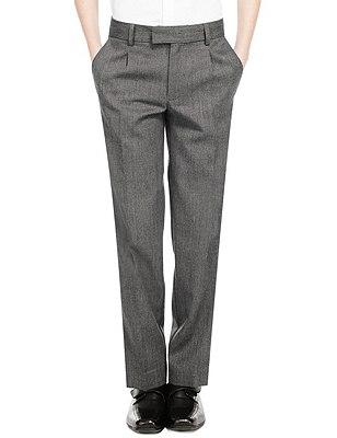 Wool Blend Boys' Pleat Front Supercrease™ Trousers with Triple Action Stormwear™ & Adjustable Hem, GREY, catlanding