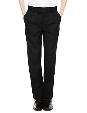 Wool Blend Boys' Pleat Front Supercrease™ Trousers with Triple Action Stormwear™ & Adjustable Hem, BLACK, catlanding