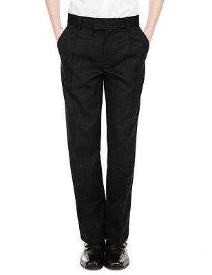 Wool Blend Boys' Pleat Front Supercrease™ Trousers with Triple Action Stormwear™ & Adjustable Hem, BLACK, catlanding