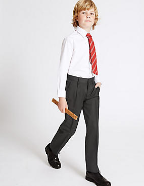Boys' Wool Blend Trousers with Supercrease™, BLACK, catlanding