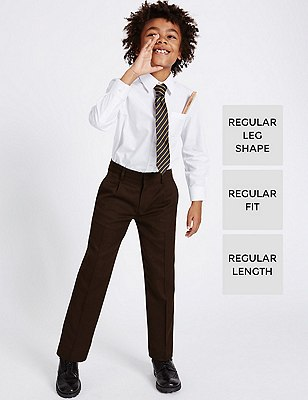 Boys' Pleat Front Supercrease™ Straight Leg Trousers with Crease-Resistance & Triple Action Stormwear™, BROWN, catlanding