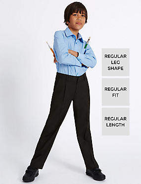 Boys' Pleat Front Supercrease™ Straight Leg Trousers with Crease-Resistance & Triple Action Stormwear™, CHARCOAL, catlanding