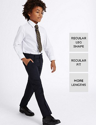 Boys' Longer Length Supercrease™ Adjustable Waist Straight Leg Trousers with Triple Action Stormwear™, NAVY, catlanding