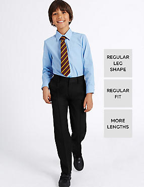 Boys' Longer Length Supercrease™ Adjustable Waist Straight Leg Trousers with Triple Action Stormwear™, BLACK, catlanding