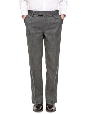 Boys' Pleat Front Trousers with Supercrease™ in Shorter & Longer Lengths with Stormwear+™, GREY, catlanding