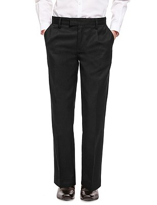 Boys' Pleat Front Trousers with Supercrease™ in Shorter & Longer Lengths with Stormwear+™, BLACK, catlanding